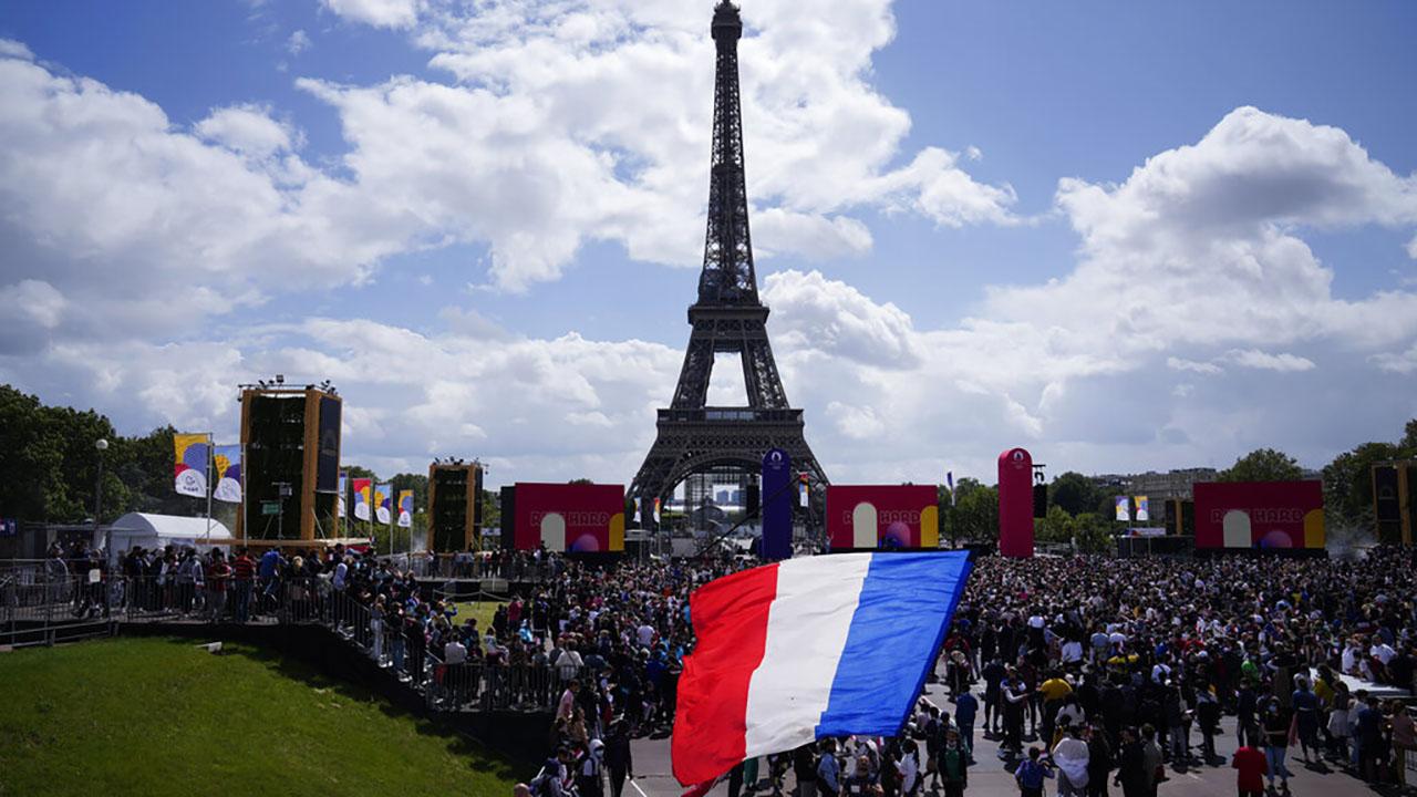 Olympics fan zone in front of the Eiffel Tower in Paris