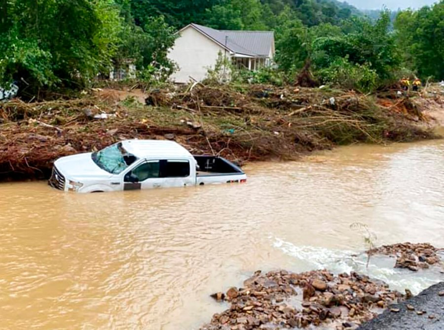 This photo provided by Bristol Virginia Professional FireFighters Association shows damage from severe weather in Hurley, Va. About 20 homes were moved from their foundations and several trailers washed away amid flooding in western Virginia from the remnants of Hurricane Ida, local officials said. (Bristol Virginia Professional FireFighters Association via AP)