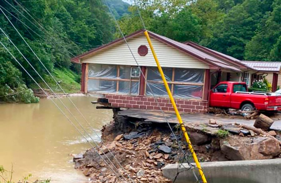 This photo provided by Bristol Virginia Professional FireFighters Association shows damage in Hurley, Va. About 20 homes were moved from their foundations and several trailers washed away amid flooding in western Virginia from the remnants of Hurricane Ida, local officials said. (Bristol Virginia Professional FireFighters Association via AP)