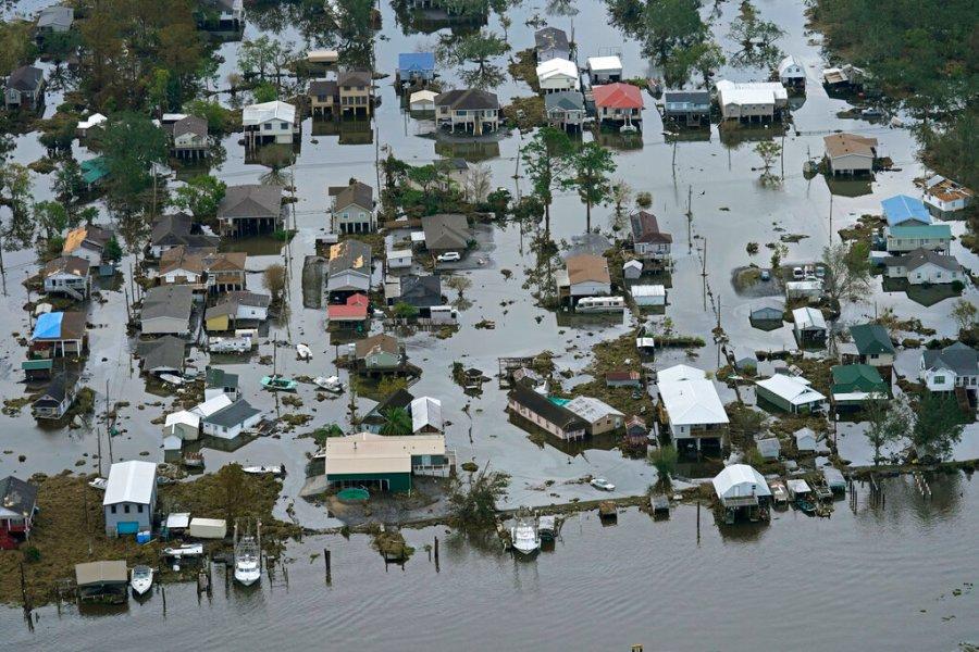 Floodwaters slowly recede in the aftermath of Hurricane Ida in Lafitte, La. (AP Photo/Gerald Herbert)