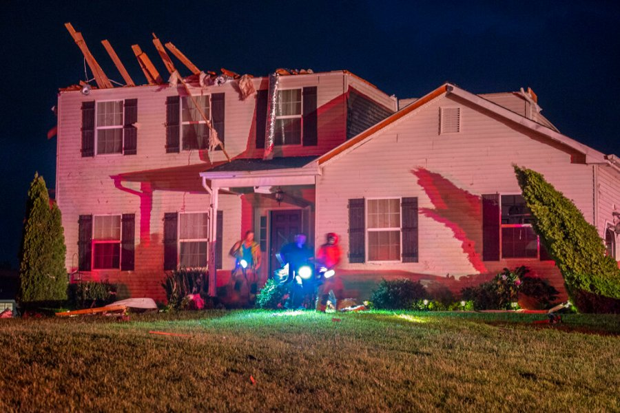 A home which was damaged by a possible tornado is seen in Harrison Township, N.J.. The remnants of hurricane Ida brought heavy rains and possible tornadoes to the area (Tom Gralish/The Philadelphia Inquirer via AP)