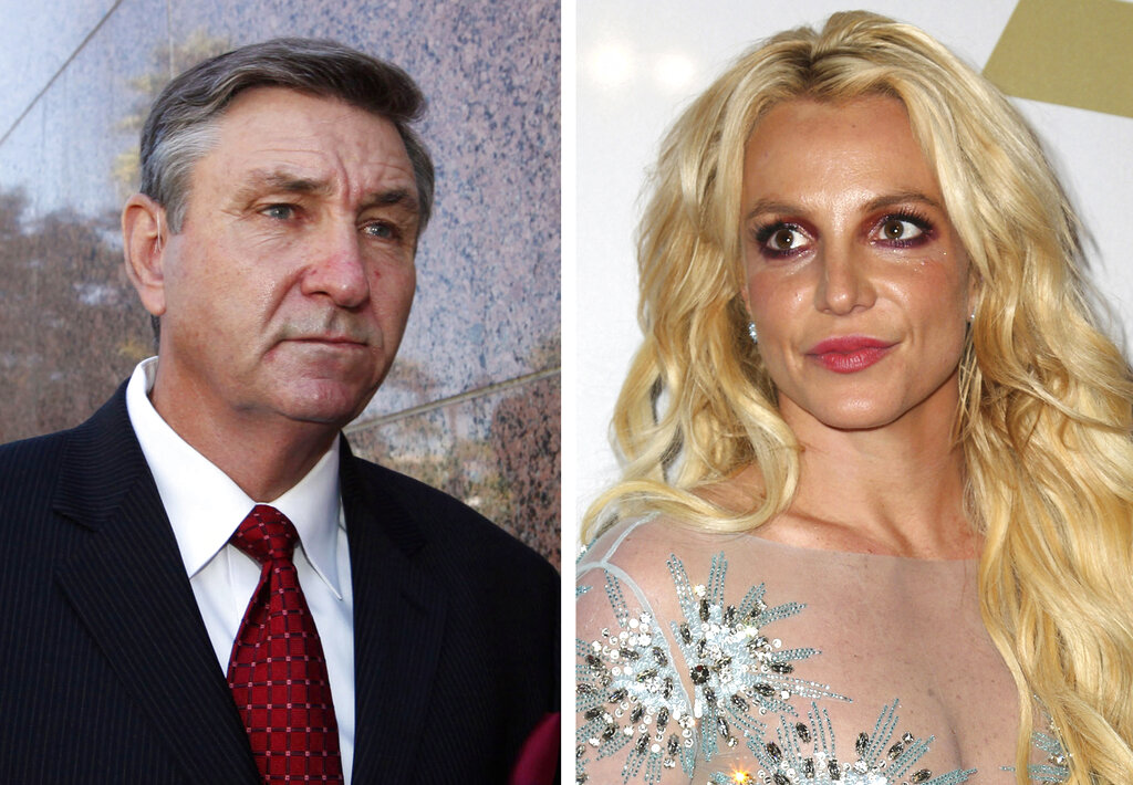 This combination photo shows Jamie Spears, left, father of Britney Spears, as he leaves the Stanley Mosk Courthouse on Oct. 24, 2012, in Los Angeles and Britney Spears at the Clive Davis and The Recording Academy Pre-Grammy Gala on Feb. 11, 2017, in Beverly Hills, Calif. Britney Spears' father agreed Thursday, Aug. 12, 2021, to step down from the conservatorship that has controlled her life and money for 13 years. (AP Photo)