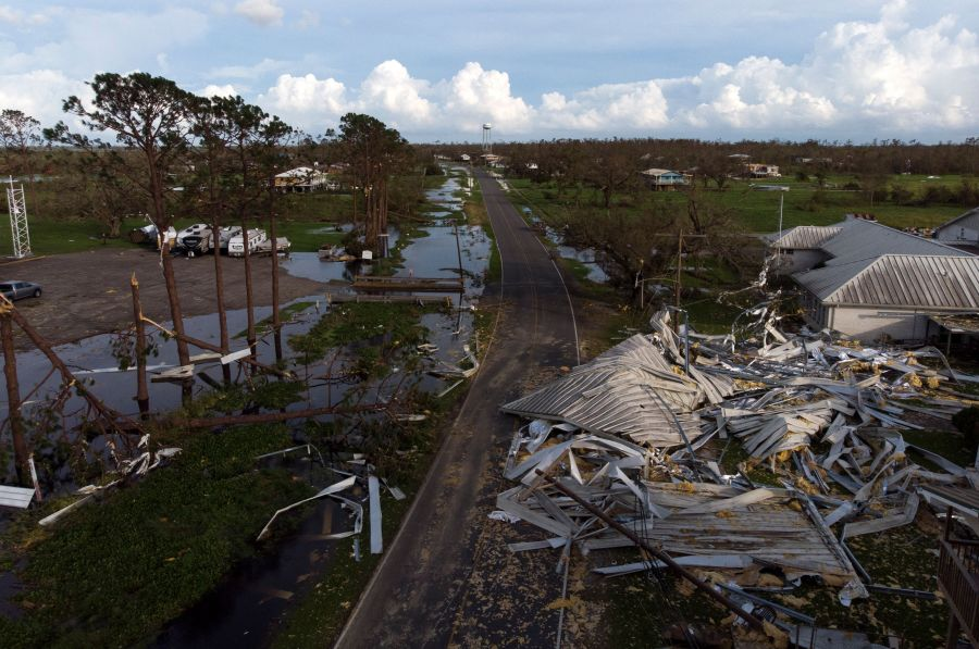 Damage in the city of Pointe-Aux-Chenes, Louisiana. (Photo by MARK FELIX/AFP via Getty Images)