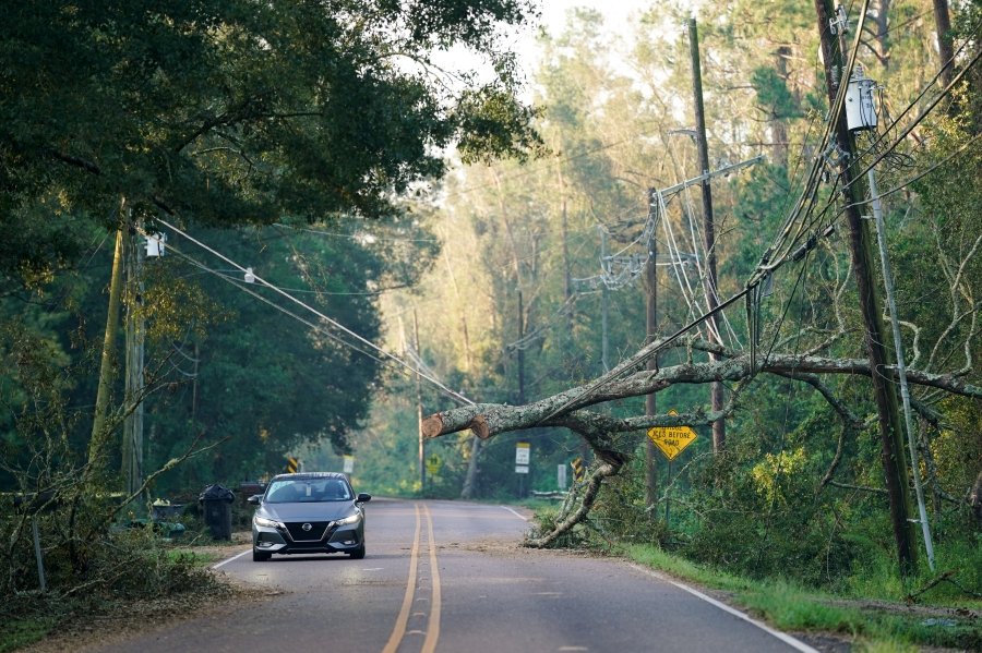 A motorist passes under a storm damaged utility line on September 1, 2021 in Hammond, Louisiana.(Photo by Sean Rayford/Getty Images)