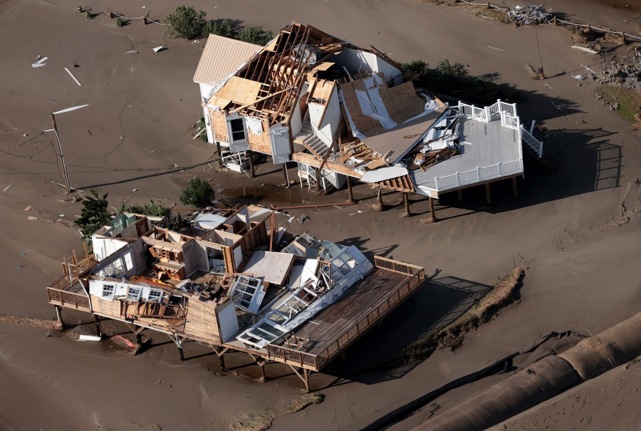 Destruction is left in the wake of Hurricane Ida in Grand Isle, Louisiana.(Photo by Win McNamee/Getty Images)