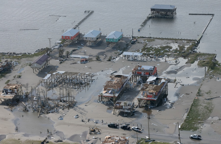 Destruction is left in the wake of Hurricane Ida in Grand Isle, Louisiana. (Photo by Win McNamee/Getty Images)