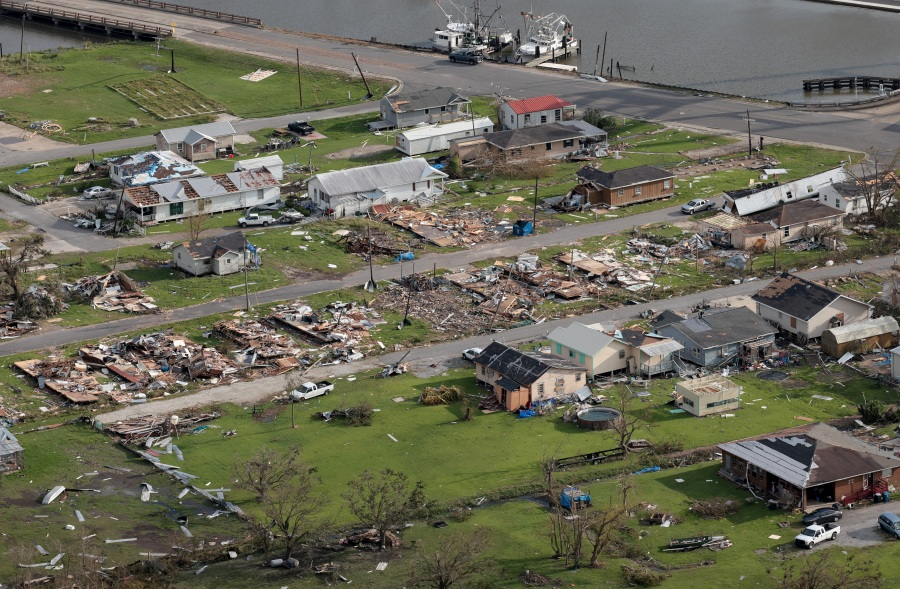 An entire block of homes is left destroyed in the wake of Hurricane Ida in Golden Meadow, Louisiana near New Orleans. (Photo by Win McNamee/Getty Images)
