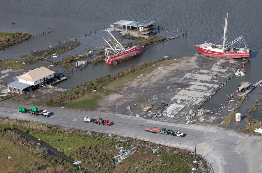 Ships are left washed ashore in the wake of Hurricane Ida on August 31, 2021 near Leeville, Louisiana. Ida made landfall August 29 as a Category 4 storm southwest of New Orleans, causing widespread power outages, flooding and massive damage. (Photo by Win McNamee/Getty Images)