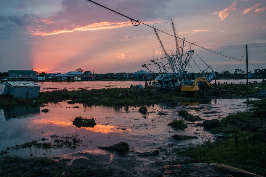 A ship washed ashore is seen in Jean Lafitte, Louisiana.(Photo by Brandon Bell/Getty Images)