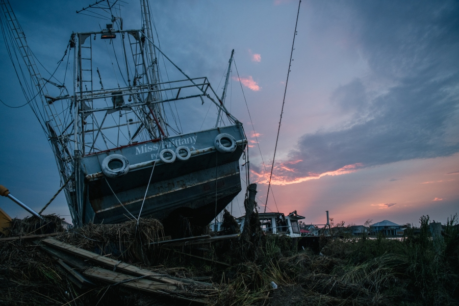A ship that was washed ashore during Hurricane Ida is seen in Jean Lafitte, Louisiana. Jean Lafitte Mayor Tim Kerner has pleaded for help for residents of the small town, which is roughly 20 miles south of New Orleans. Many stores remain closed and services suspended as power throughout New Orleans and its surrounding region is down. (Photo by Brandon Bell/Getty Images)