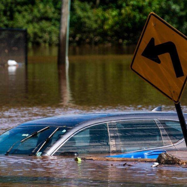 A car flooded from the remnants of Hurricane Ida in Somerville, N.J. Thursday, Sept. 2, 2021. (AP Photo/Eduardo Munoz Alvarez)