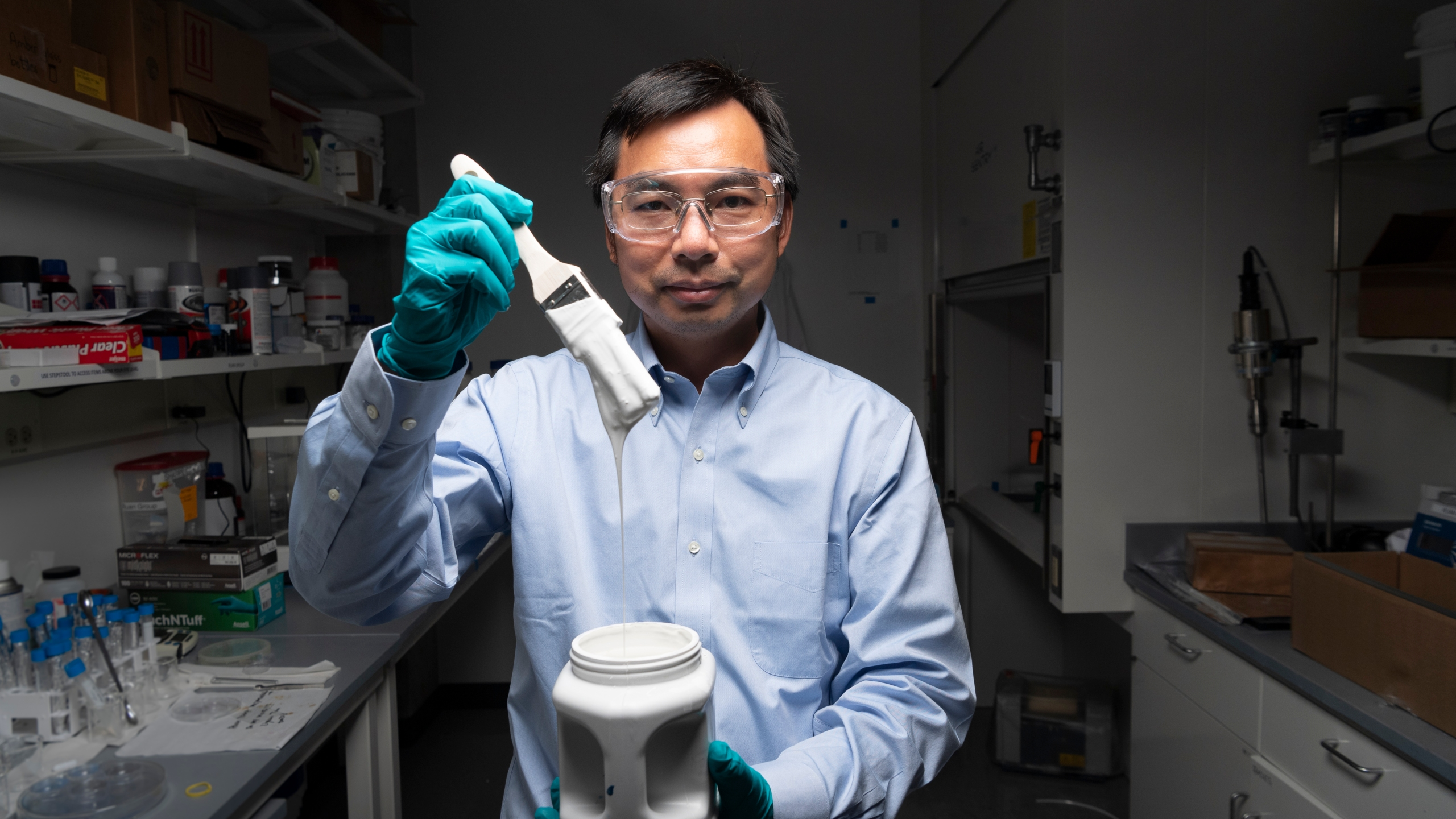 Xiulin Ruan, a Purdue University professor of mechanical engineering, and his students have created the whitest paint on record. (Credit: Purdue University photo/John Underwood)